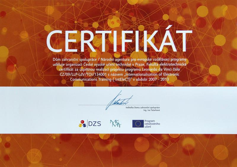 Certifikát za projekt IntEleCT